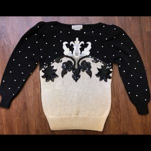 Vintage 1980s Nannell Sequined Pullover Sweater S